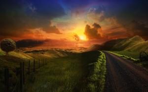 hill-road-sunset-clouds-grass-900x1440