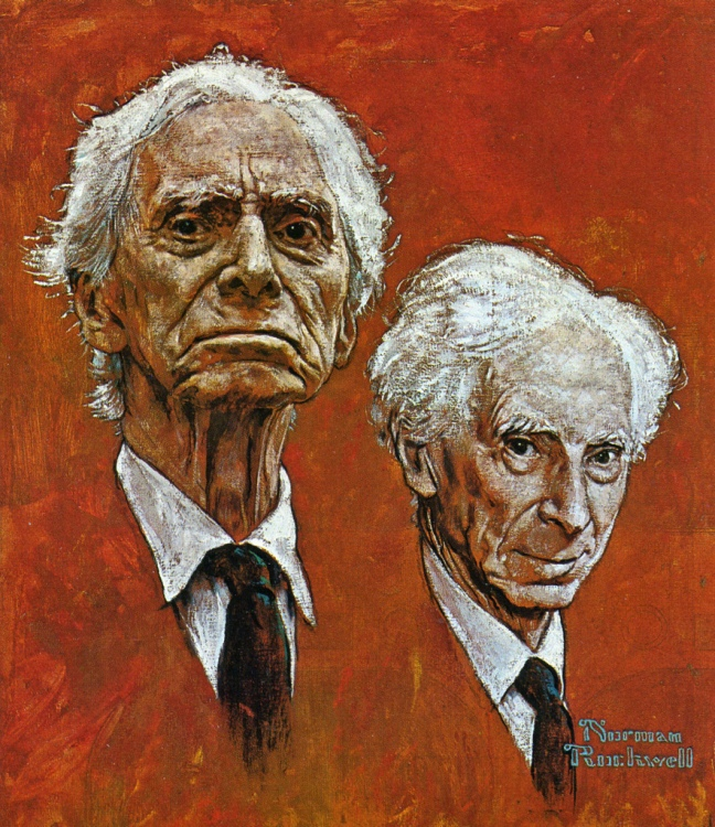 A portrait of the mathematician / philosopher / peace activist, Nobel Prize Winner Bertrand Rusell, by Norman Rockwell.