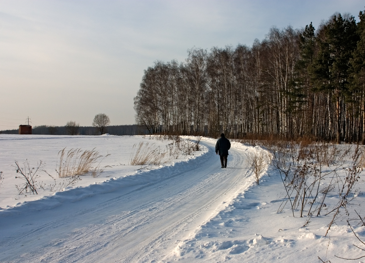 Lonely Man On Winter Road
